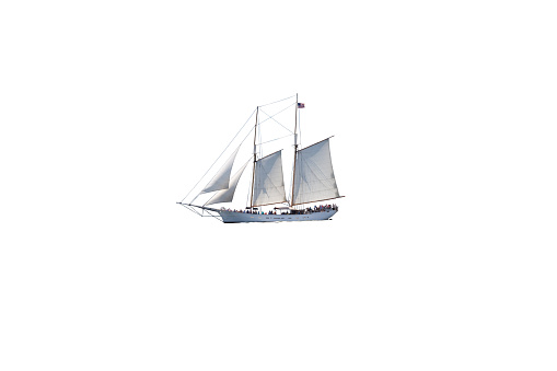 Sailboat (Tall Ship) full of Tourists Isolated on White.