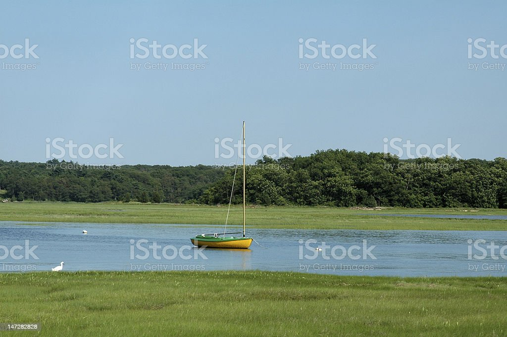 Sailboat in Essex River royalty-free stock photo