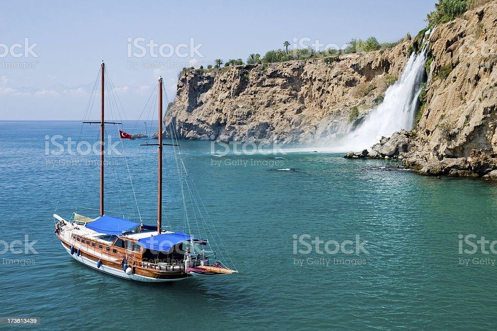 Sailboat in paradise lagoon royalty-free stock photo