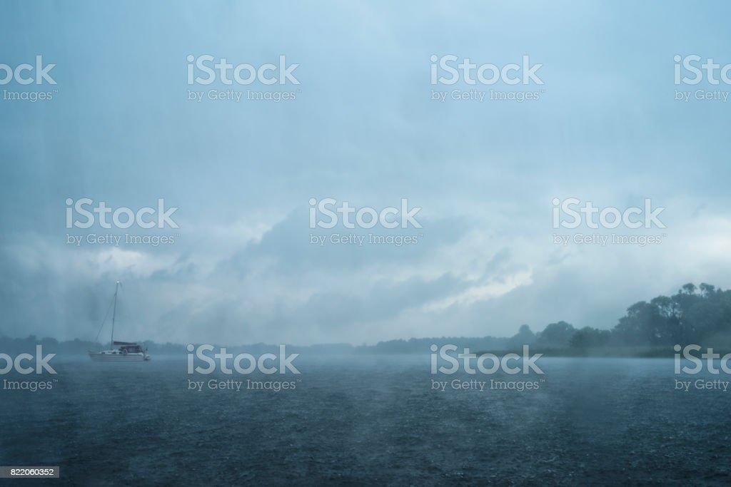 Horizon Over Water, Nautical Vessel, Sailing Ship, Sea, Summer, rain