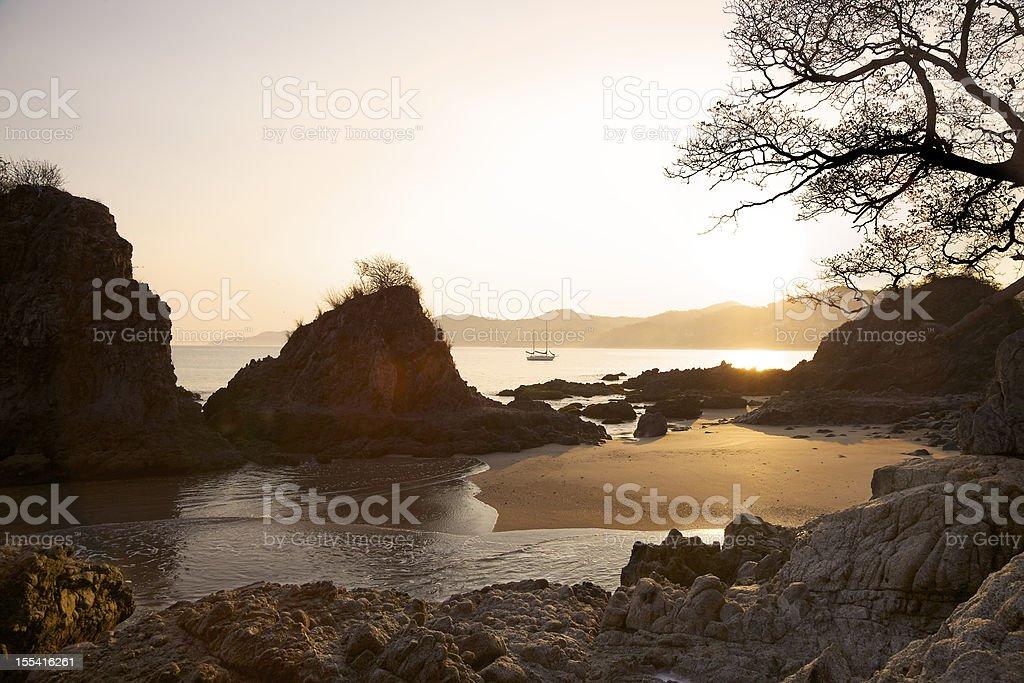 Sailboat in Sunrise Over Sayulita Mexico stock photo