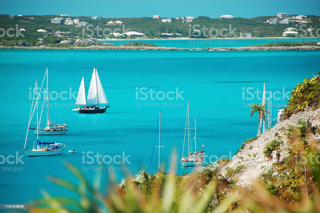 Sailboat in the Bahamas stock photo