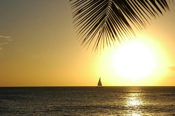 Sailboat in the Hawaiian Sun stock photo