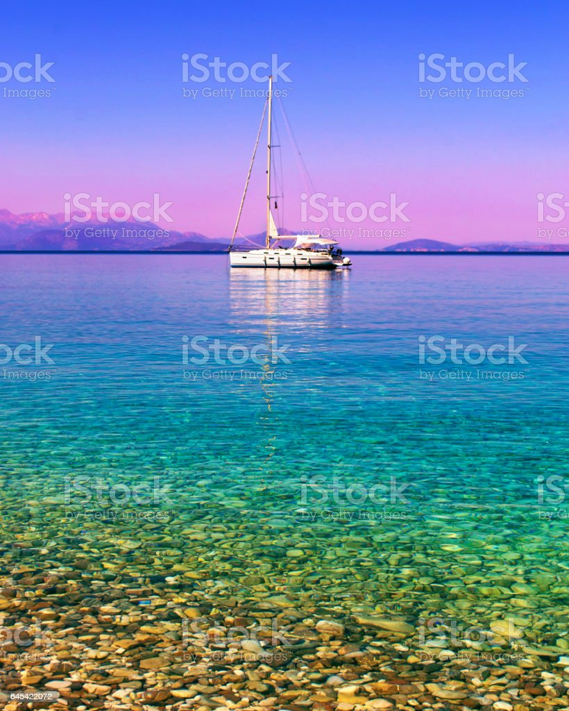 sailboat in the Ionian sea Ithaca Greece stock photo