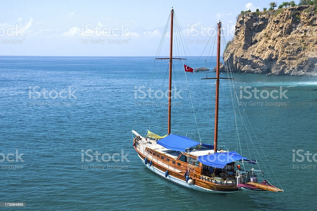 Sailboat in the lagoon royalty-free stock photo