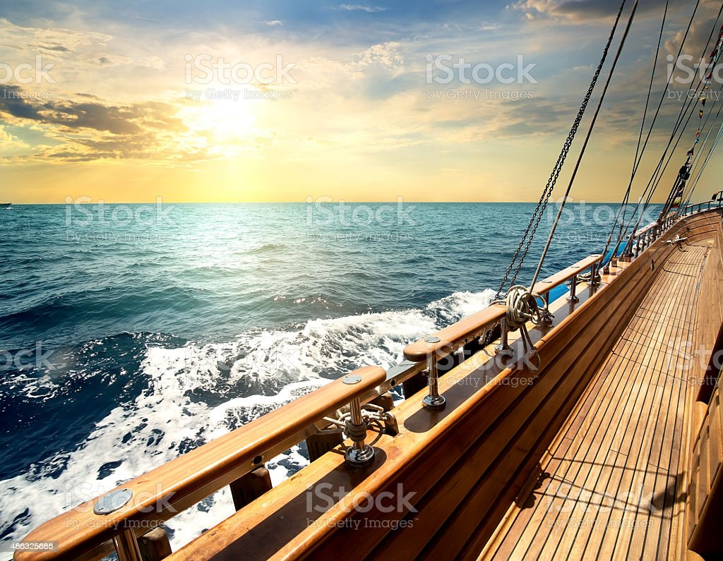 Sailboat in the sea stock photo