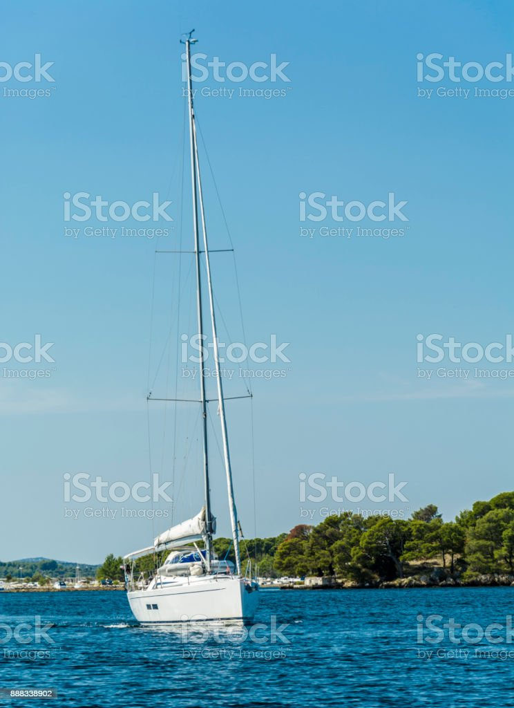 Sailboat in the Sibenik Bay stock photo