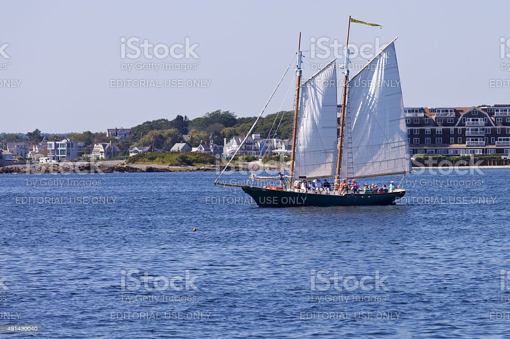 Sailboat is sailing near Kennebunkport, Maine, New England. stock photo
