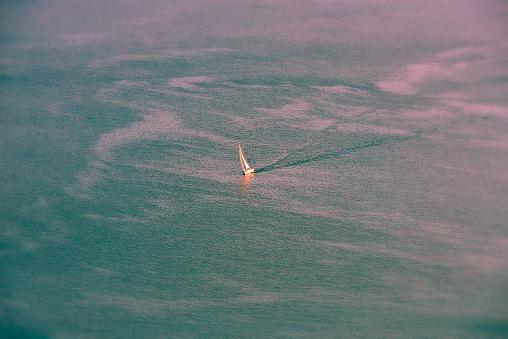 sailboat is sailing on the Lake Geneva