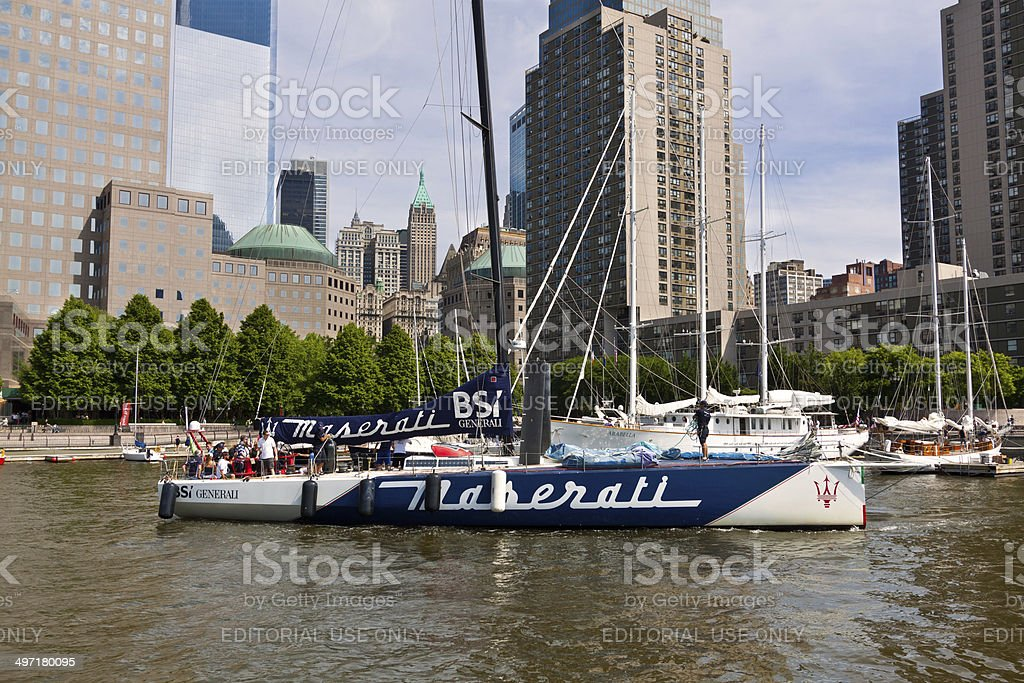 Sailboat leaving North Cove Marina, New York City. royalty-free stock photo