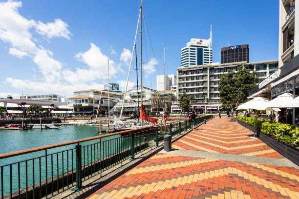 A sailboat mooring in the Viaduct marina in Auckland stock photo