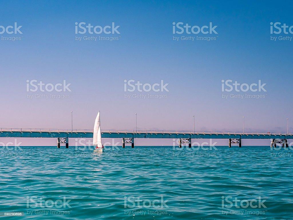 Sailboat on a quiet sea in summer in Italy royaltyfri bildbanksbilder