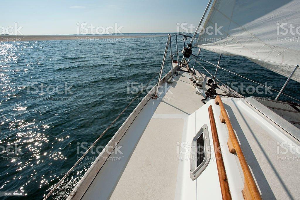 Sailboat on a sunny day on Casco Bay, Maine stock photo