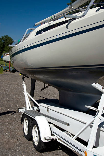 Sailboat on a trailer stock photo