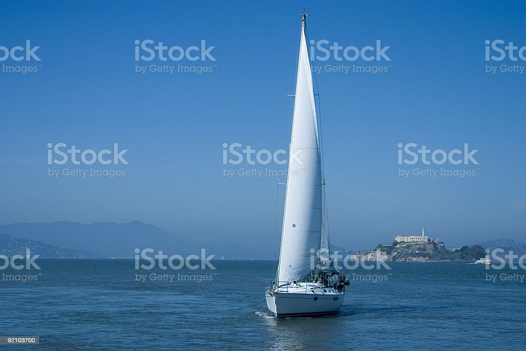 Sailboat on Bay royalty-free stock photo