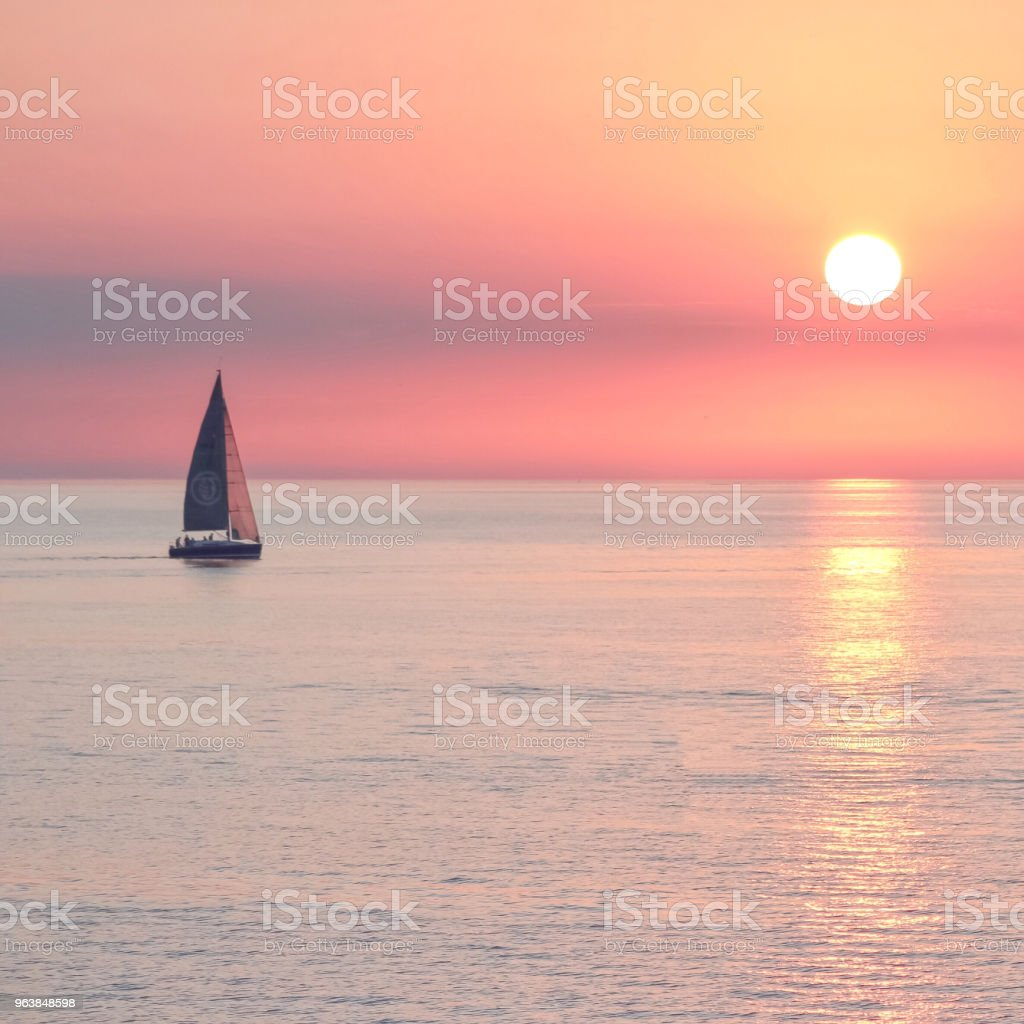 Sailboat on calm lake - Royalty-free Dusk Stock Photo