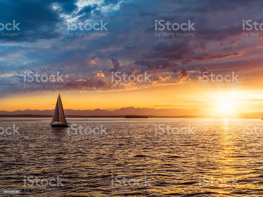 Sailboat on Elliott Bay stock photo