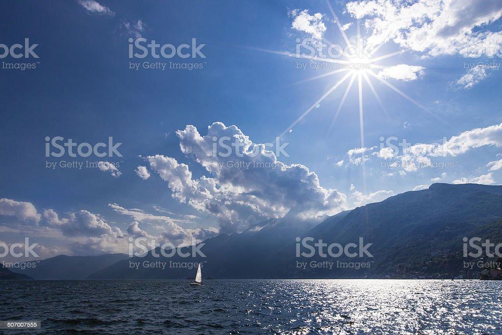 Sailboat on Lake Maggiore stock photo