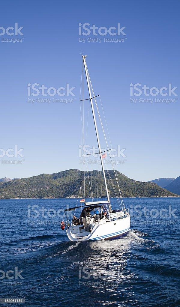 Sailboat on Mediterranesn Sea royalty-free stock photo