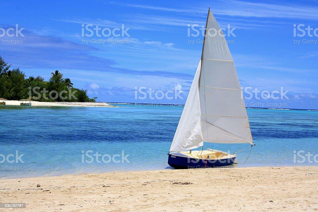 Sailboat on Muri Beach in Rarotonga, the Cook Islands stock photo