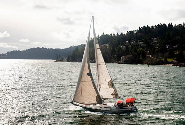 Sailboat on Puget Sound stock photo