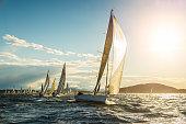 Sailboat on regatta on sunny autumn morning. Event Regatta Jabuka Property released. Taken by Sony a7R II, 42 Mpix.