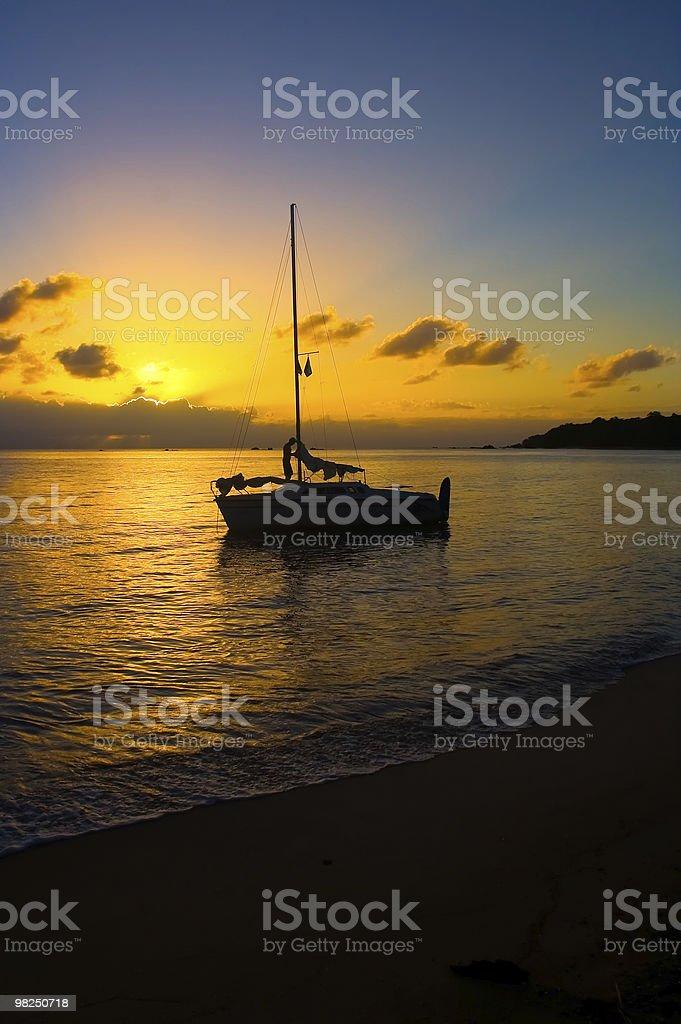 Sailboat on sunset royalty-free stock photo