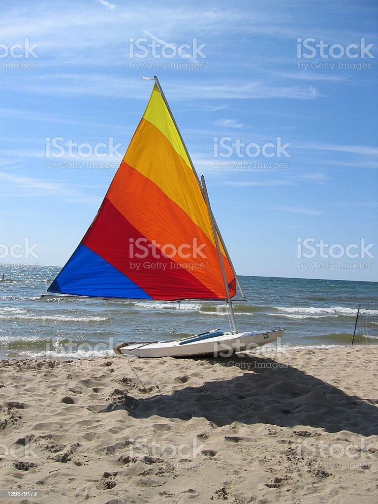 Sailboat on the Beach stock photo