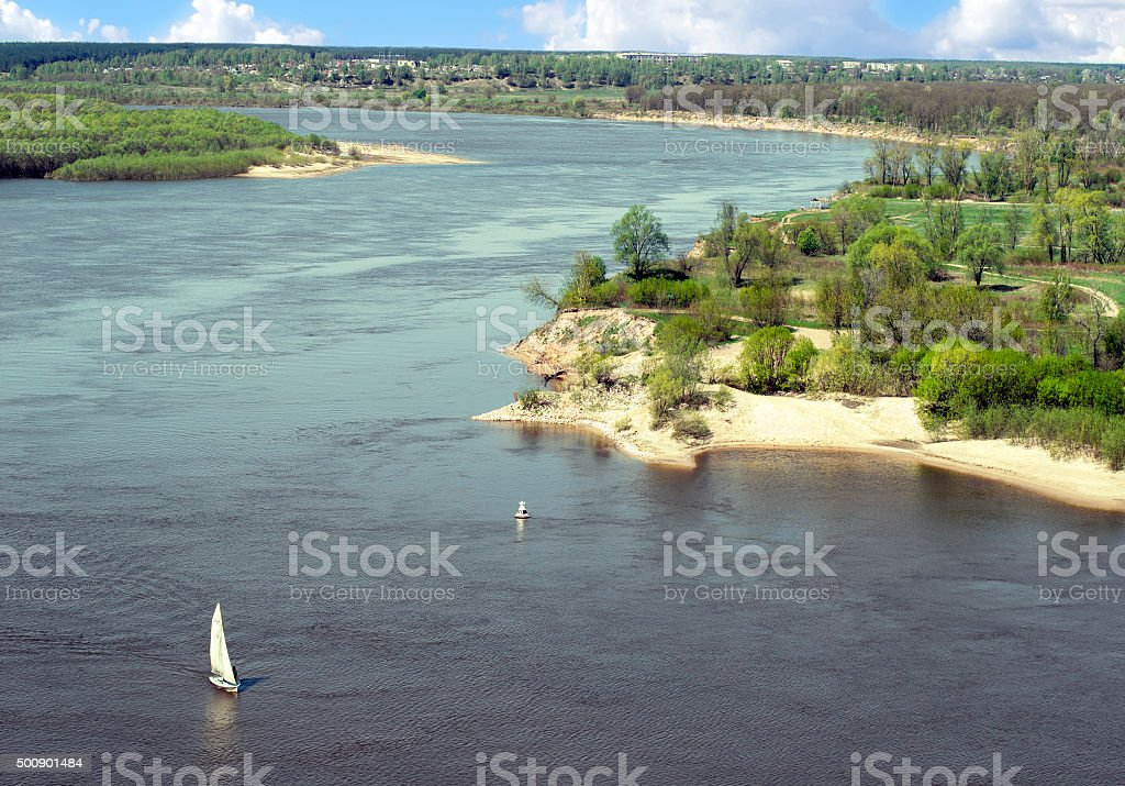 Sailboat on the bend of the river Oka stock photo