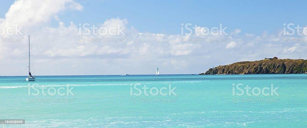 Sailboat on the Caribbean royalty-free stock photo