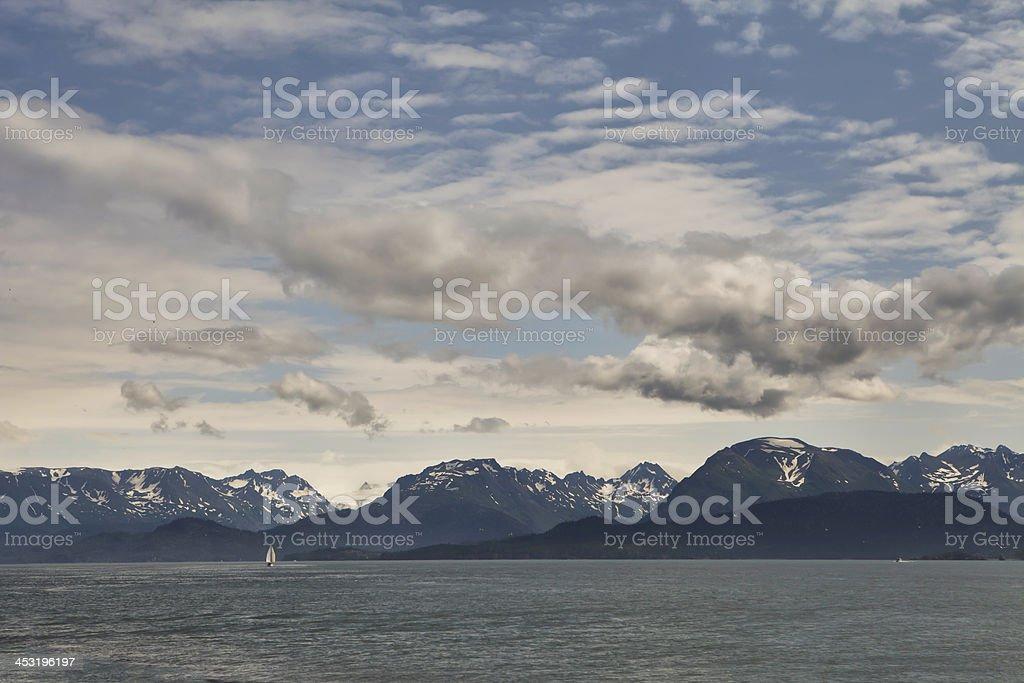 Sailboat on the Kachemak Bay stock photo