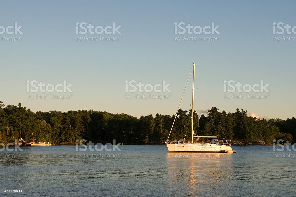 Sailboat on the St. Lawrence River royalty-free stock photo