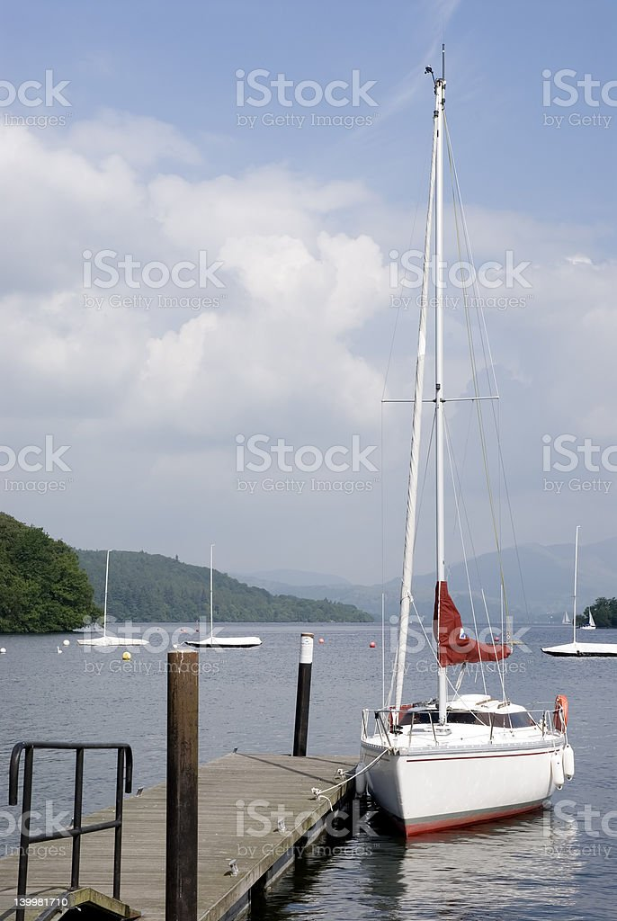 Sailboat on Windermere stock photo