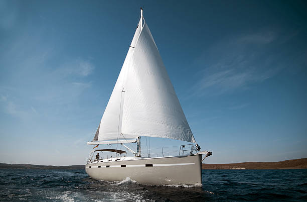 sailboat - yacht front view stock photos and pictures