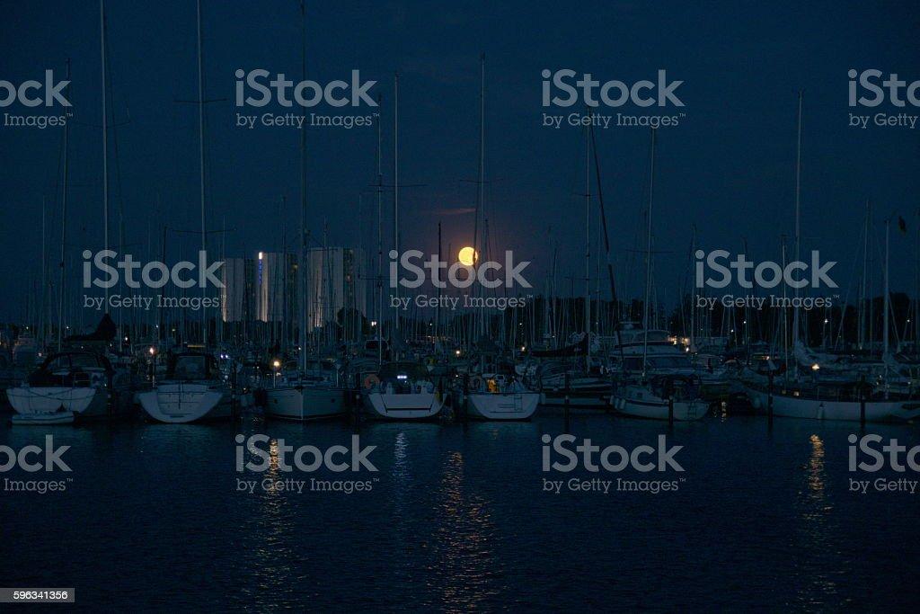 sailboat port at night royalty-free stock photo