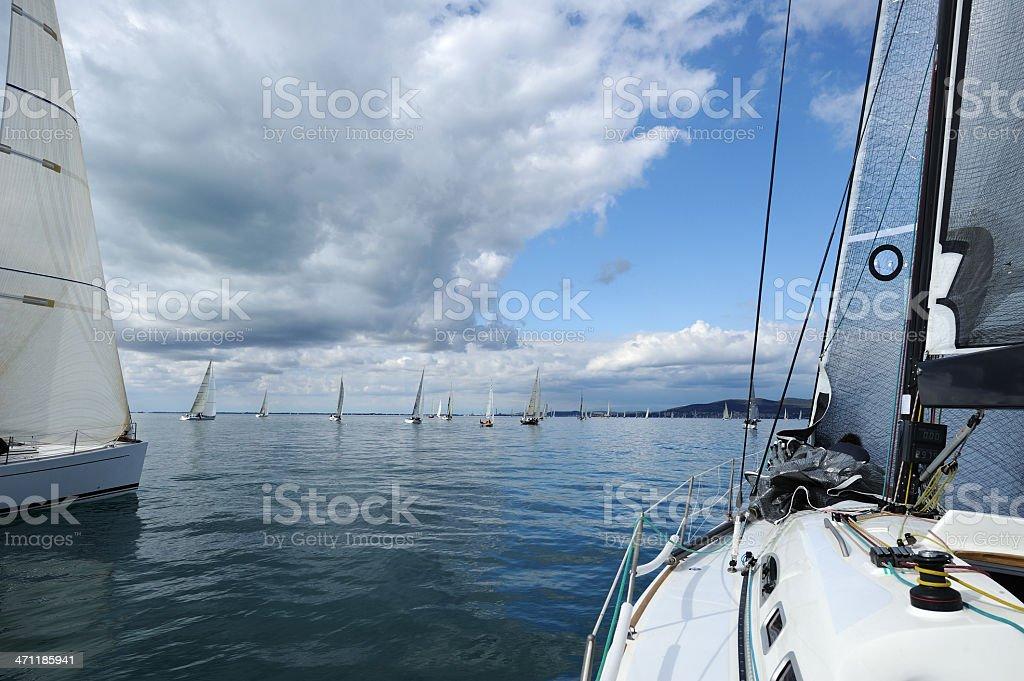 Sailboat race stock photo