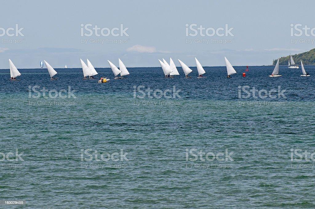 Sailboat regatta on lake royalty-free stock photo