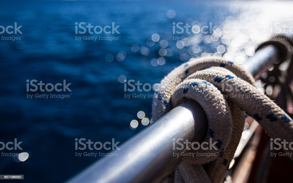 Sailboat rope, yacht detail. Yachting stock photo