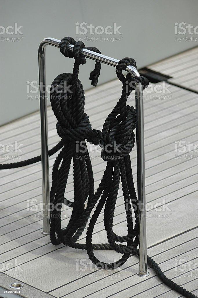 Barca a vela corde foto stock royalty-free