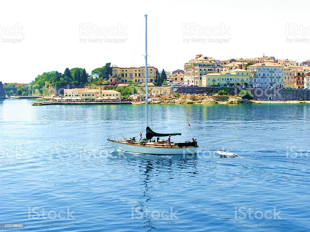 Sailboat sailing in Kerkira stock photo