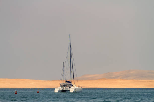 Sailboat sails along the coast of Paracas (Peru) with dunes in the background Sailboat sails along the coast of Paracas (Peru) with dunes in the background pisco peru stock pictures, royalty-free photos & images
