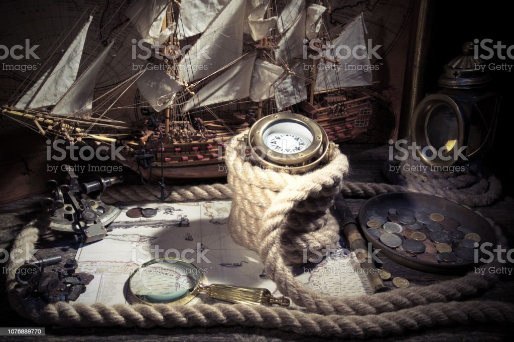 Sailboat Ship Lantern Compass Old Coins And Sextants Travel