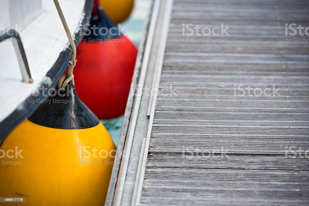 Sailboat Side Fenders CloseUp stock photo