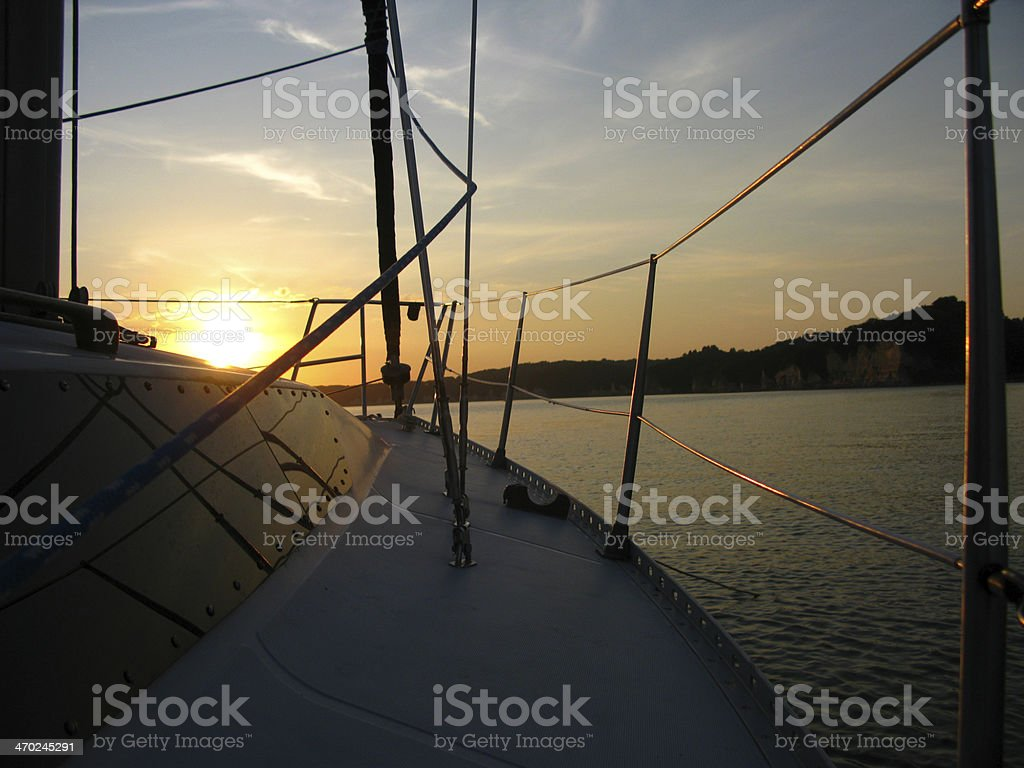 Sailboat Sidedeck Sunset royalty-free stock photo