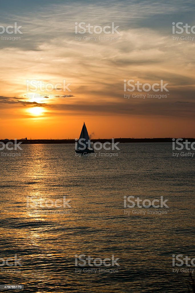 Sailboat silhouette on the Chesapeake Bay stock photo