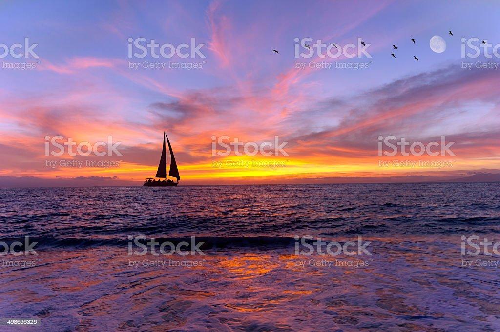 Segelboot-Silhouette – Foto