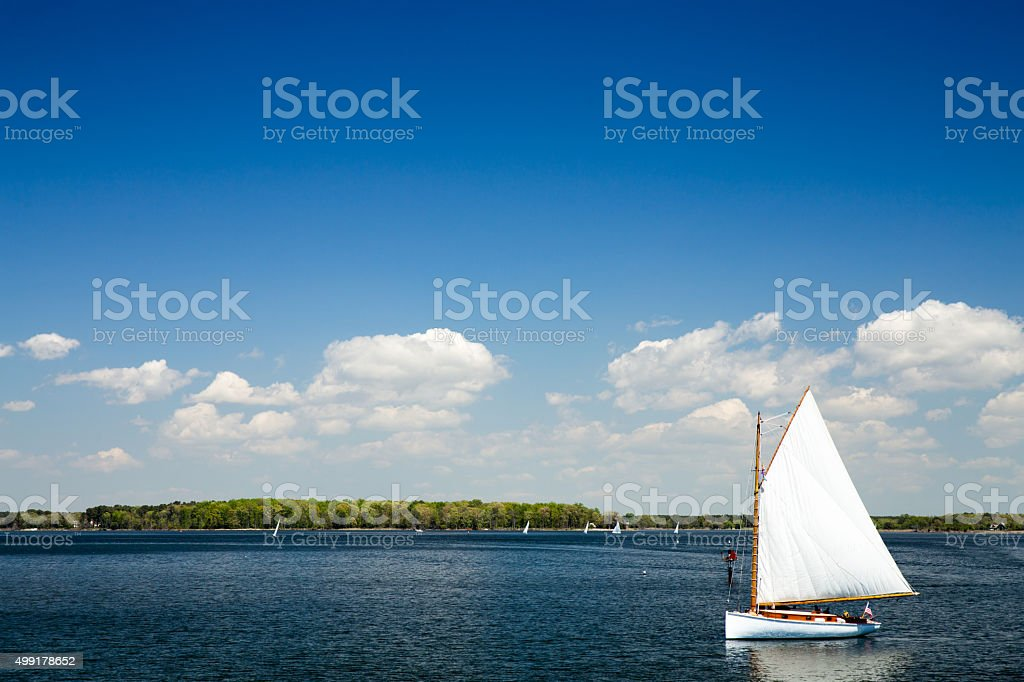 Sailboat St Michaels in Maryland at the Chesapeake Maritime Museum stock photo