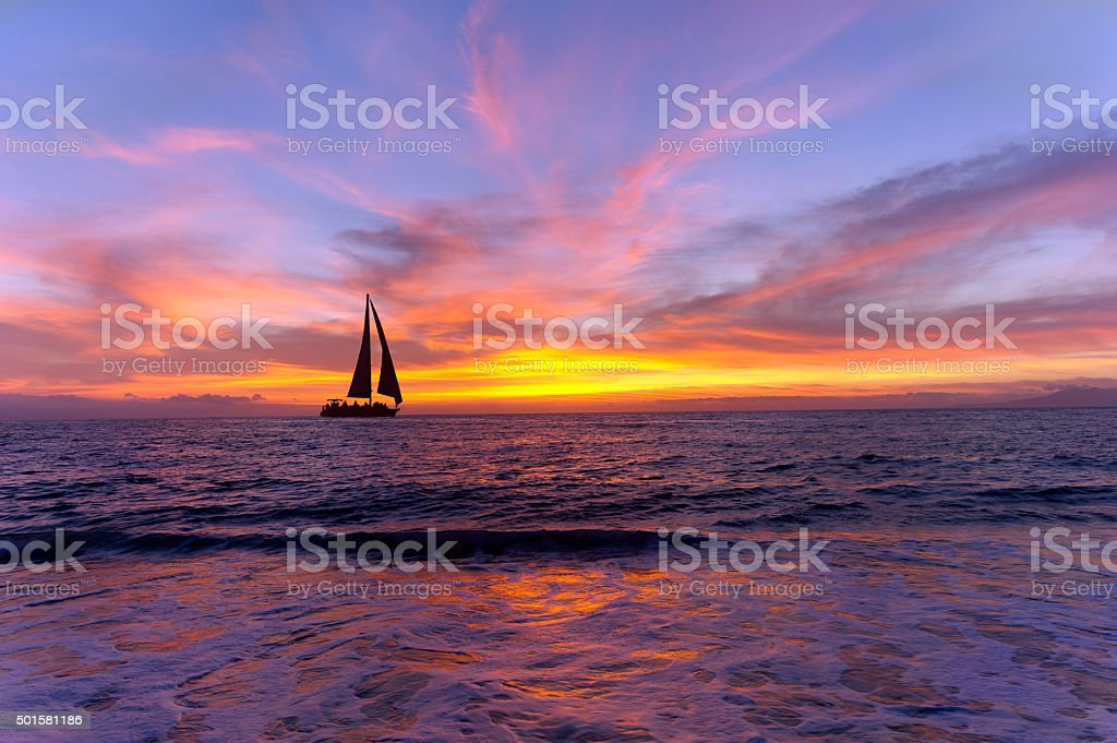 Sailboat Sunset Silhouette stock photo
