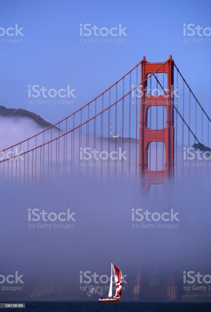 Sailboat Under Golden Gate Bridge, San Francisco royalty-free stock photo
