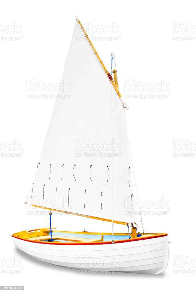 sailboat under the white background stock photo